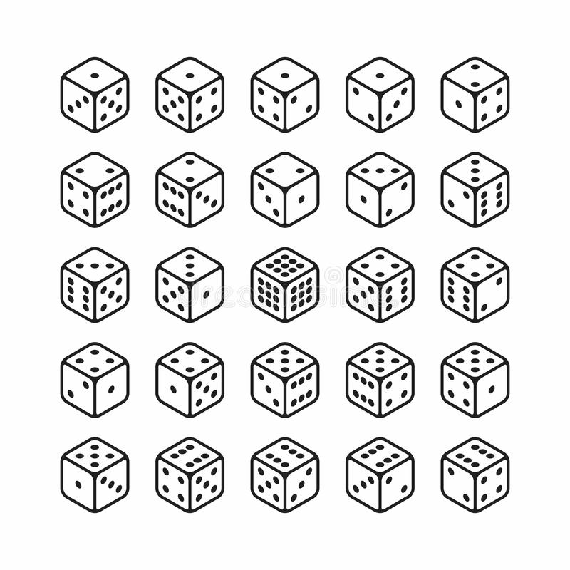 Isometric icons of 3d dice set. All 24 possible turns royalty free illustration