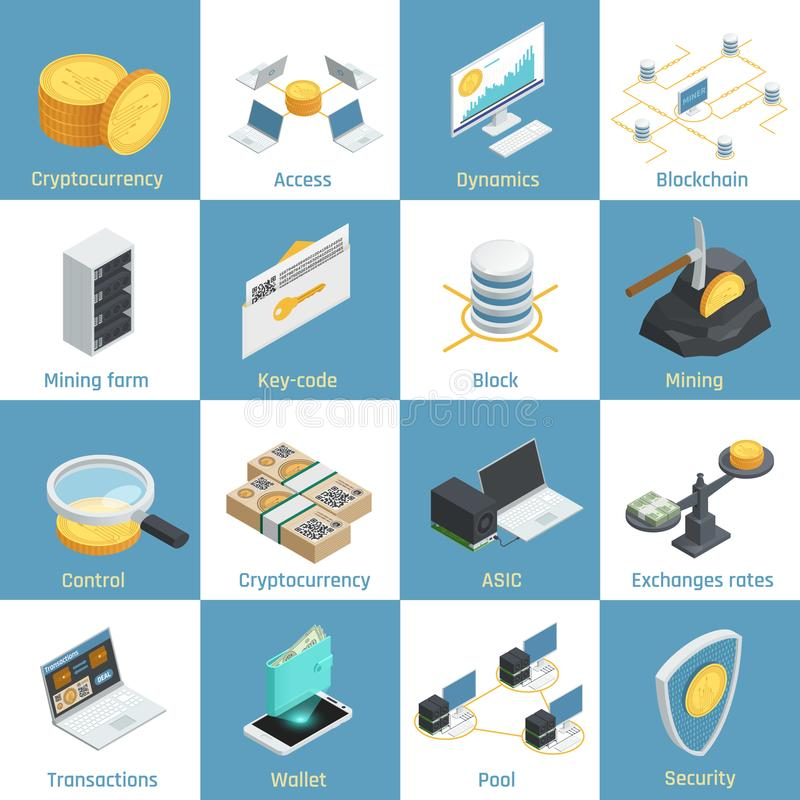 Cryptocurrency Isometric Icons vector illustration