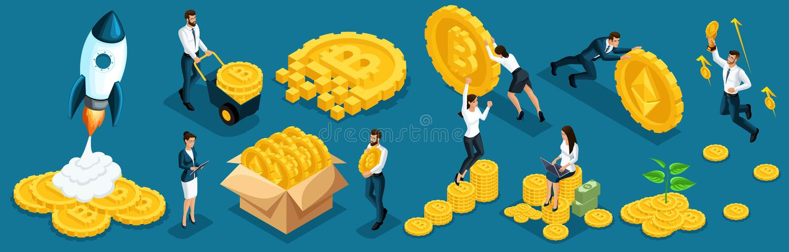 Isometric icons investors, speculators with ico blockchain concept, safe bitcoin, cryptocurrency mining, startup project. Horizont vector illustration
