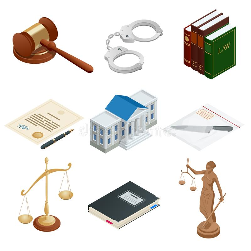 Isometric icons of isolated public justice symbols. Lawbook, handcuff, judge gavel, scales, paper, Themis. Vector. Isometric icons of isolated public justice vector illustration