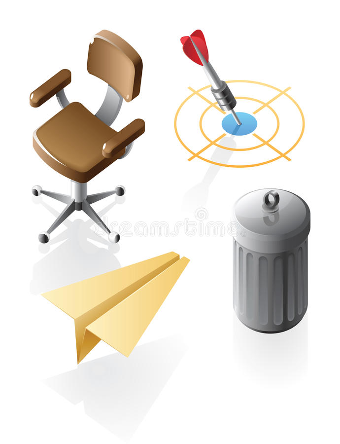 Isometric Icons For Office Time Royalty Free Stock Photography