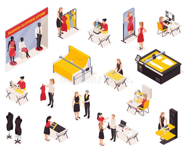 Sewing Factory Isometric Icons Set stock illustration