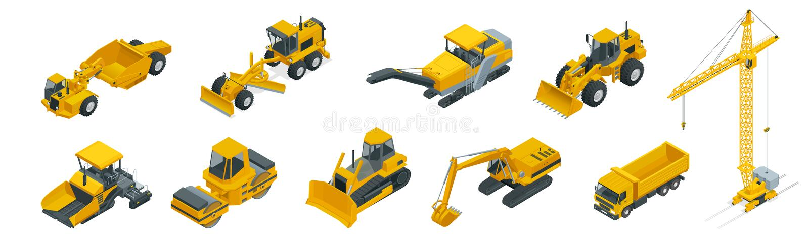 Isometric icons set of construction equipment and machinery with trucks crane and bulldozer. Isolated vector Building vector illustration
