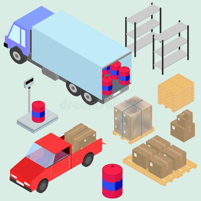 Isometric icons set of logistics and delivery, scales, boxes, forklifts, and cargo. In vector royalty free illustration