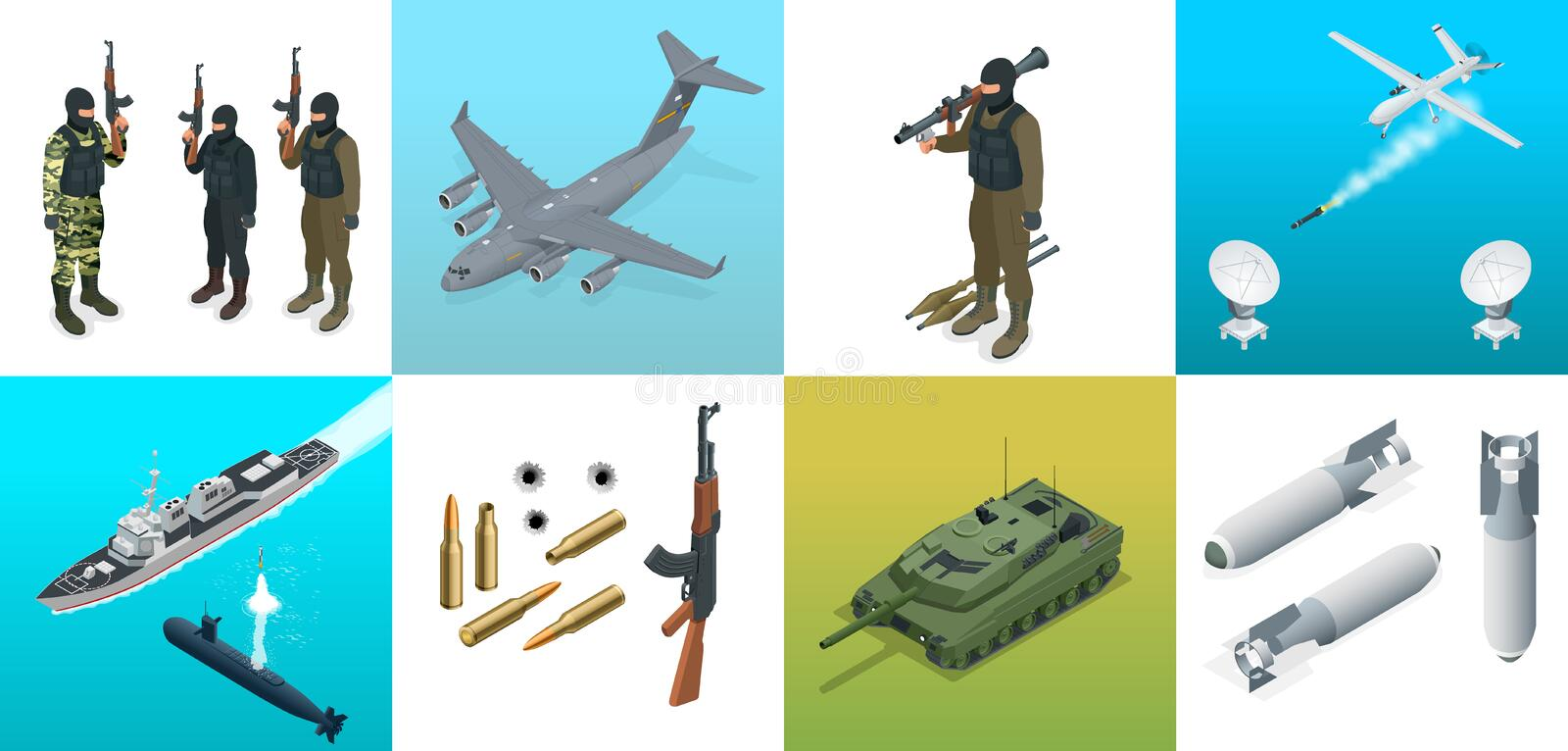 Isometric icons submarine, aircraft, soldiers. Set of military equipment flat high quality military vehicles transport. royalty free illustration