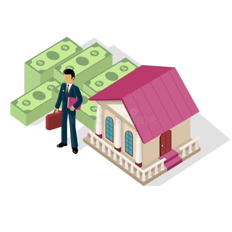 Isometric ikona biznesmena banka gotówka ilustracji