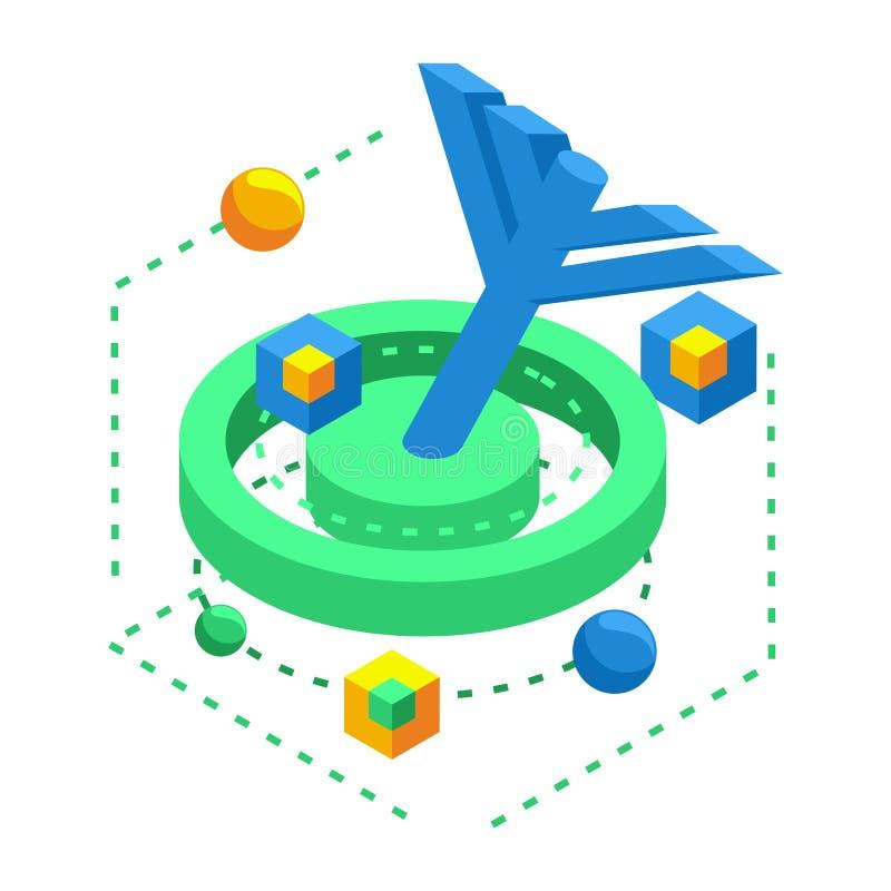 Isometric ikona dla dokonywać cel w trakcie móżdżkowego rozwoju, rozwój neural ilustracji