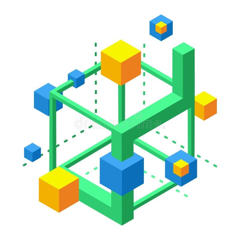 Isometric ikona dla tworzyć neural związki, wizualny postrzeganie, pamięć rozwój ilustracji