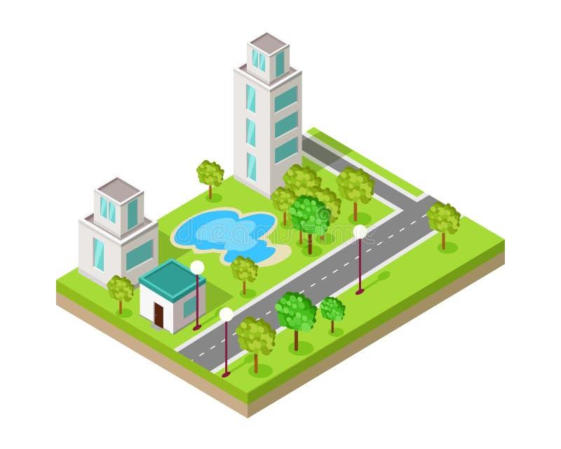Isometric ikona luksusu odpoczynku sporta centrum z basenem ilustracja wektor
