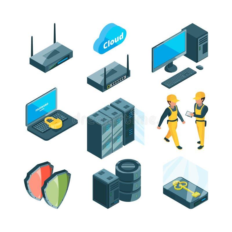 Isometric ikona ustawiająca różni elektroniczni systemy dla datacenter royalty ilustracja