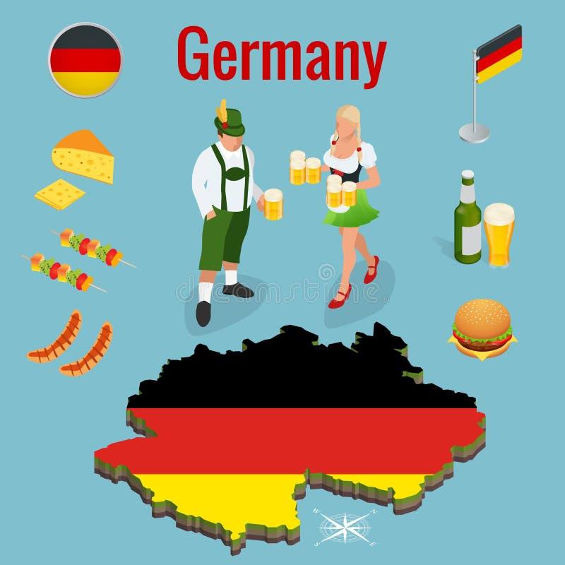 Isometric ikona ustawiająca Tradycyjni symbole kultura i kuchnia Niemcy lub Deutschland Federacyjna republika Niemcy ilustracja wektor