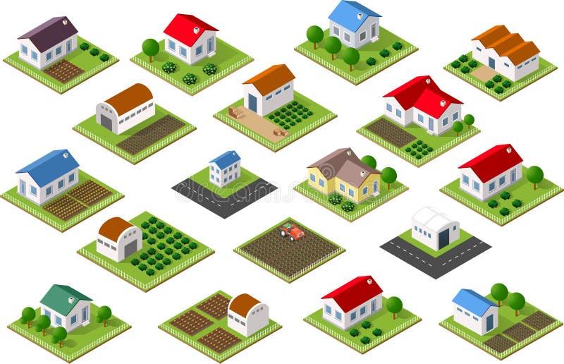 Isometric ikona wiejska royalty ilustracja