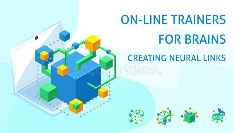 Isometric ikony neural związki ludzki mózg, online symulanci dla rozwoju pamięć royalty ilustracja