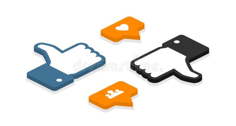Isometric ikony Set Lubi ikonę Jak odpierająca powiadomienie ikona Jak ikony ilustracja wektor