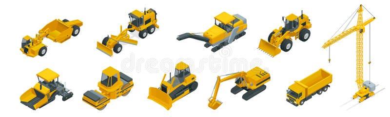 Isometric ikony ustawiać budowy maszyneria z ciężarówkami i wyposażenie żuraw i buldożer Odosobniony wektorowy budynek ilustracja wektor