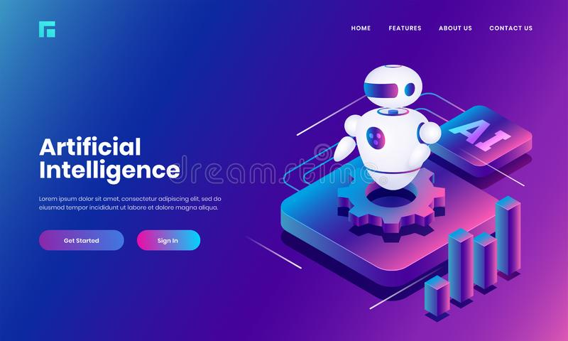 Isometric illustration of Android robot with cog wheel and bar graph for Artificial Intelligence. vector illustration