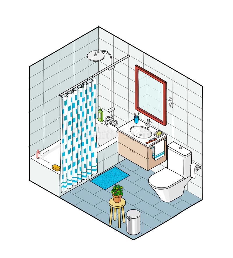 Isometric illustration of bathroom. Hand drawn interior view. royalty free illustration