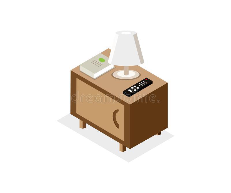 Isometric illustration of nightstand. Isometric illustration of brown nightstand with night light, TV remote, book. Isolated. 3d Vector royalty free illustration