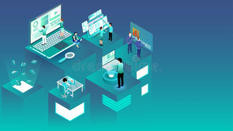 Isometric illustration of business people working on different platforms. vector illustration