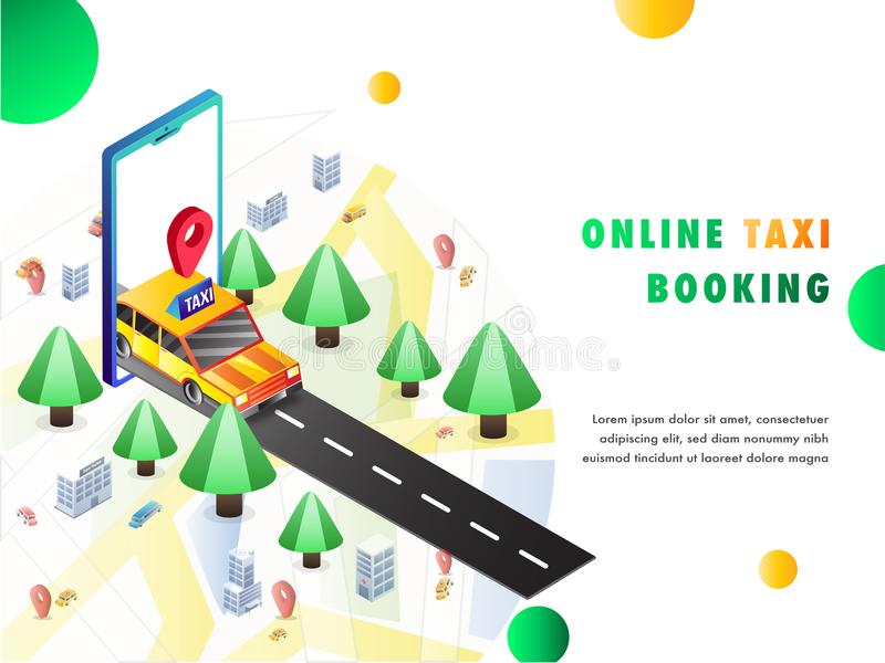Isometric illustration of a cab coming out from a mobile app, ma. P, navigation points. Online cab book landing page design stock illustration