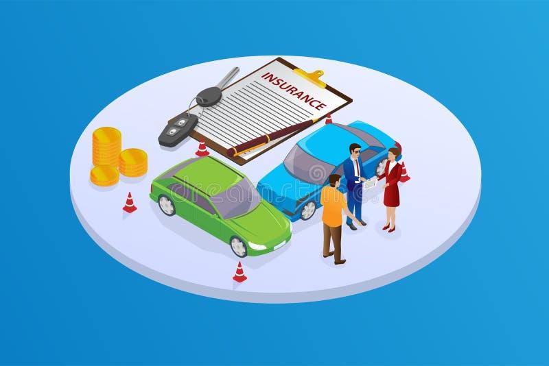 Isometric illustration car Insurance services. stock illustration