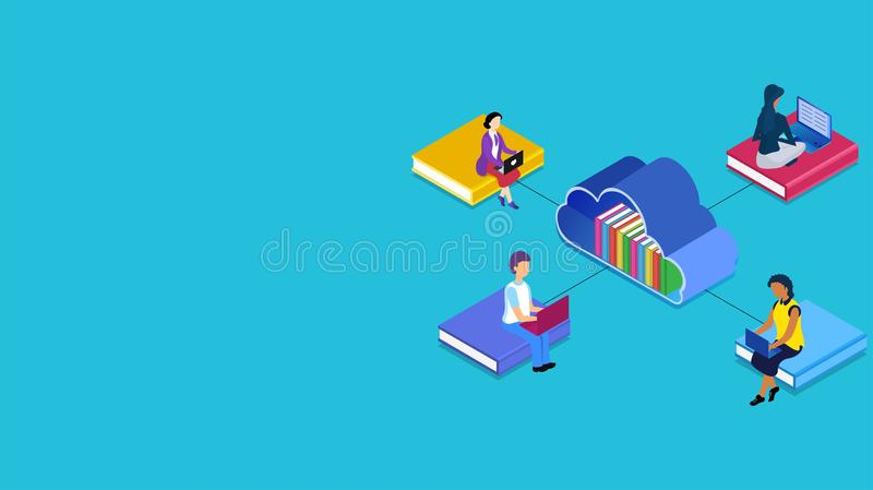 Isometric illustration of cloud library connected with people preparing online from laptop in different platform. stock illustration