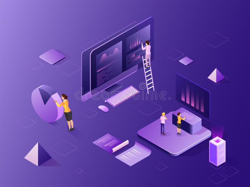 Isometric illustration of computer, analysts analysis the data w. Ith the help of infochart for Data Analysis concept based web template design royalty free illustration