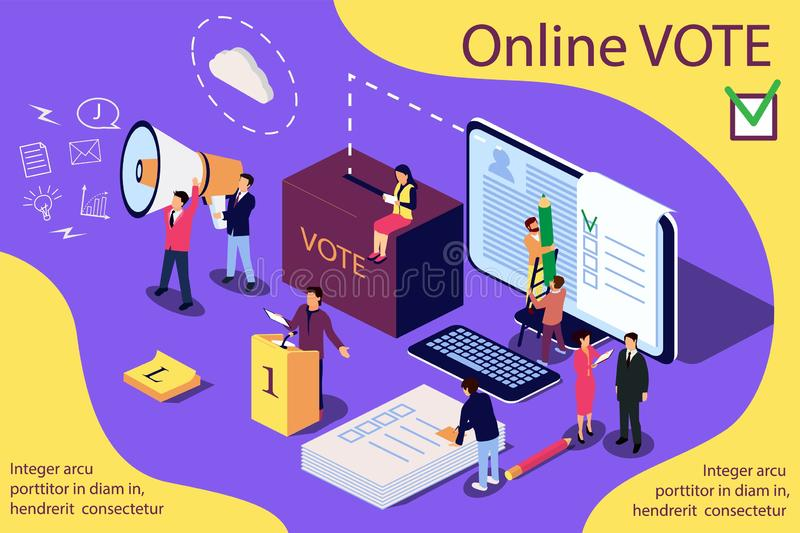 Isometric illustration concept. Group of people give online vote. royalty free illustration