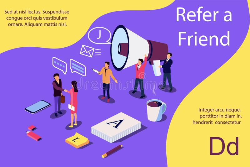 Isometric illustration concept. People shou into the microphone with Refer a friend words vector illustration