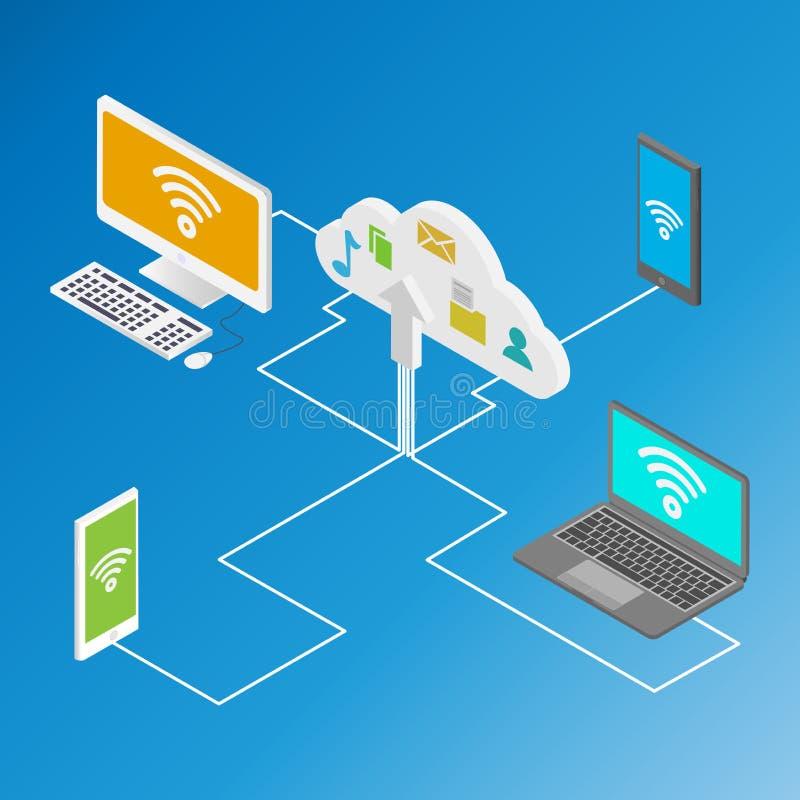 Isometric illustration of data storage in cloud stock illustration
