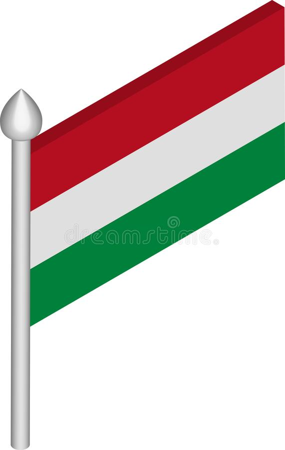 Vector Isometric Illustration of Flagpole with Hungary Flag royalty free illustration