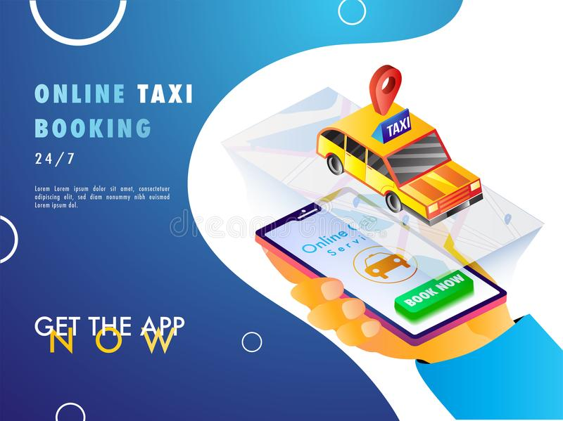 Isometric illustration of a human hand booking a cab using mobil. E app with map, navigation points, and taxi royalty free illustration