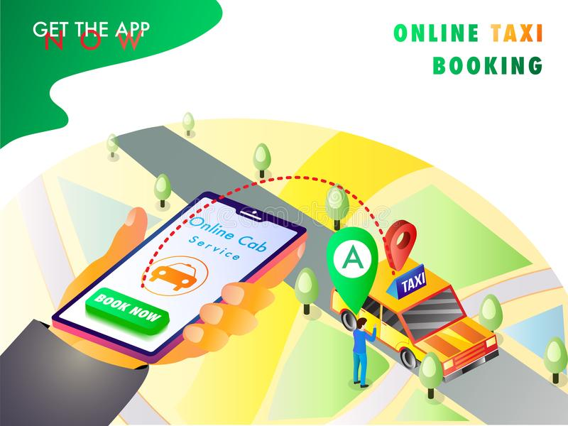 Isometric illustration of a human hand booking a cab using mobil. E app with map, navigation points vector illustration