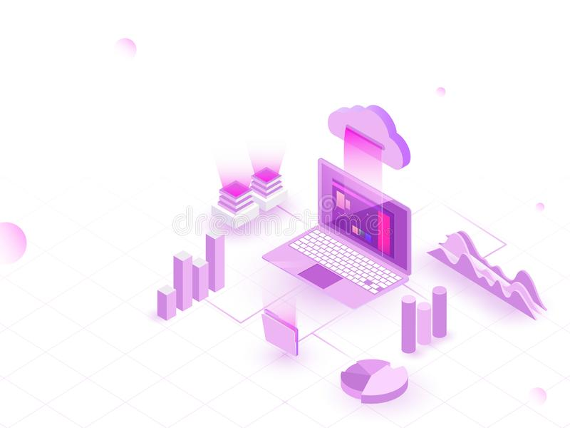 Isometric illustration of laptop connected to cloud with 3D bar stock illustration