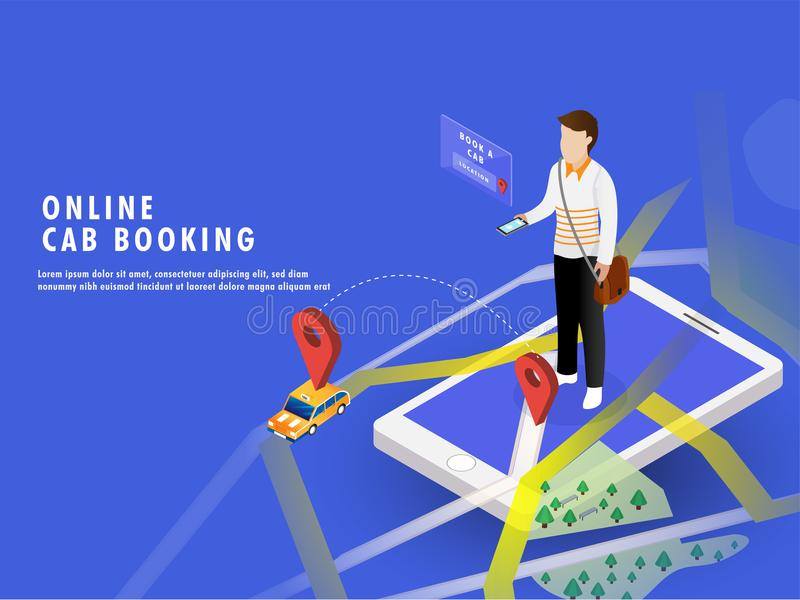 Isometric illustration of a man booking a cab through smartphone. With map navigation. Online Cab Booking web template or landing page design royalty free illustration