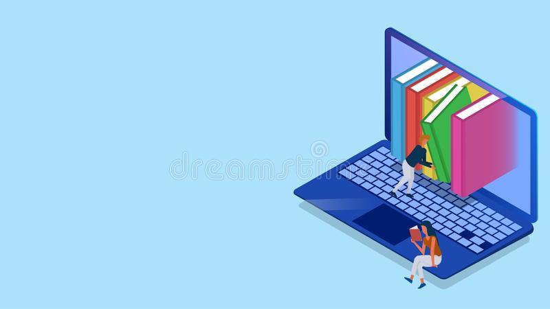 Isometric illustration of Online Library from laptop, man character manage the library for E-Book. Isometric illustration of Online Library from laptop, man royalty free illustration