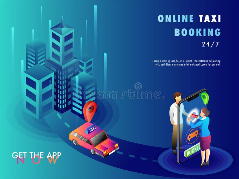Isometric illustration of people booking a cab using mobile app. With map, navigation points, and taxi royalty free illustration