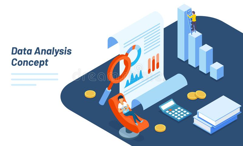 Isometric illustration of report, bar graph and magnifying glass. For data analysis concept based responsive hero image stock illustration