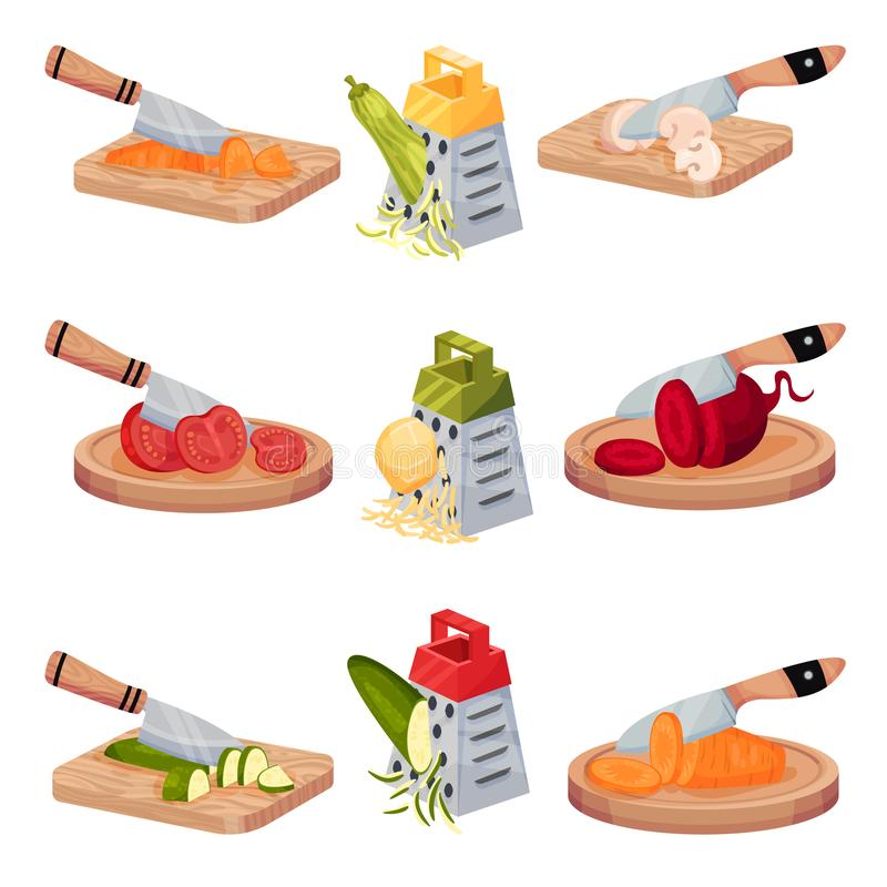 Set Of Images With Vegetables Chopped With A Knife And Grated. Vector Illustrations On A White Background. Isometric illustration set with fresh ripe vegetables vector illustration