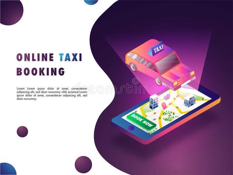 Isometric illustration of a taxi on mobile screen with map, navigation points, and taxi. Online cab booking concept. royalty free illustration
