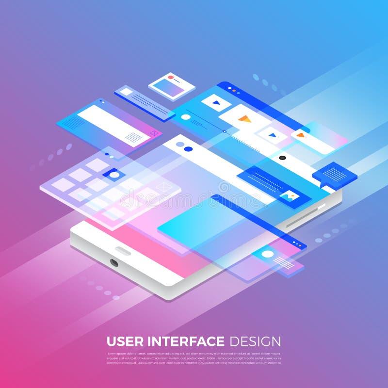 Isometric User Interface Design stock illustration