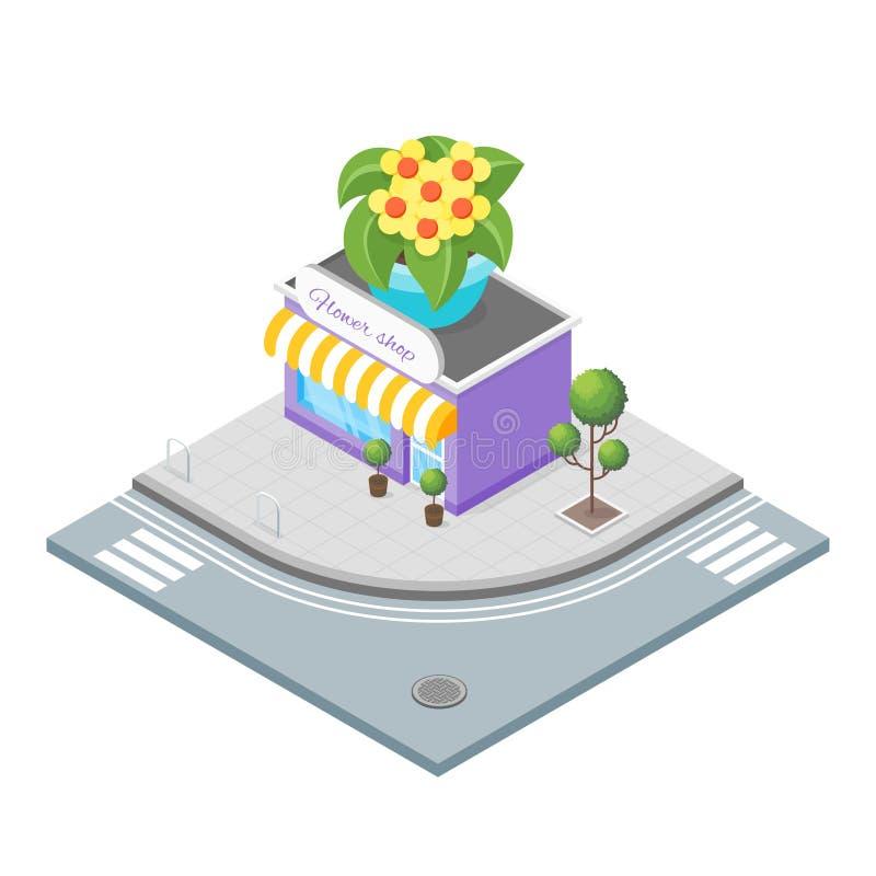 Isometric ilustracja kwiatu sklep royalty ilustracja