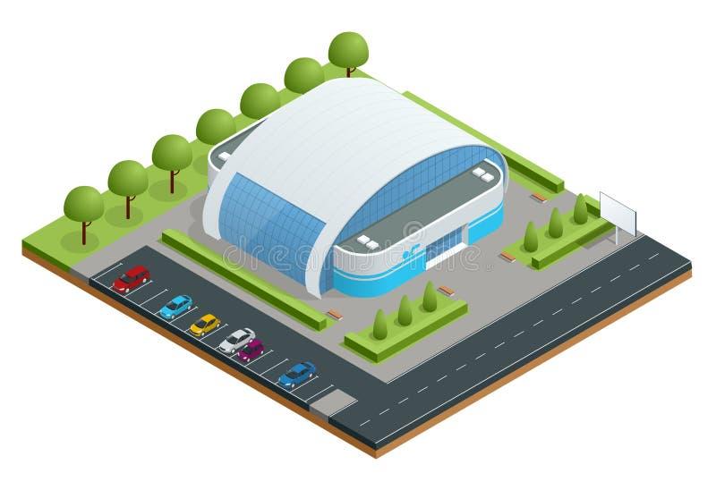 Isometric ilustracja nowożytnego budynku pływacki basen dla wodnych sportów, dopłynięcie, pikowanie, podwodni sporty, woda ilustracji