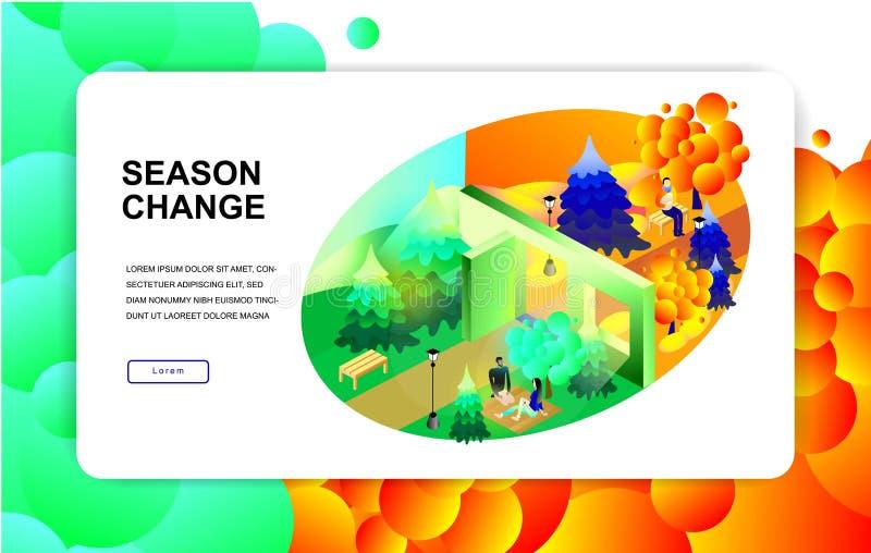 Isometric ilustracja Sezon zmiana Lato, jesień Para piknik royalty ilustracja