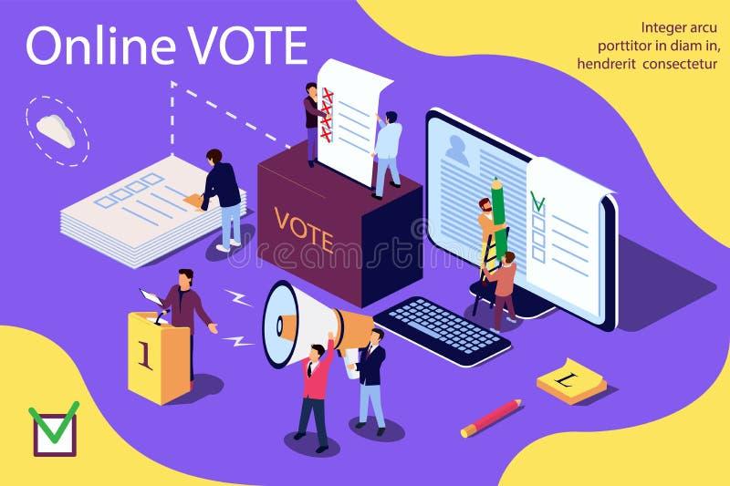 Isometric ilustracyjny pojęcie Grupa ludzi daje onlinemu głosowaniu i kładzenia papper głosowaniu wewnątrz głosowania pudełko ilustracji