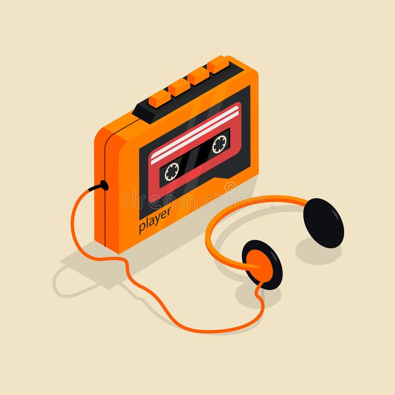 Isometric image of an old retro cassette player with headphones. royalty free illustration