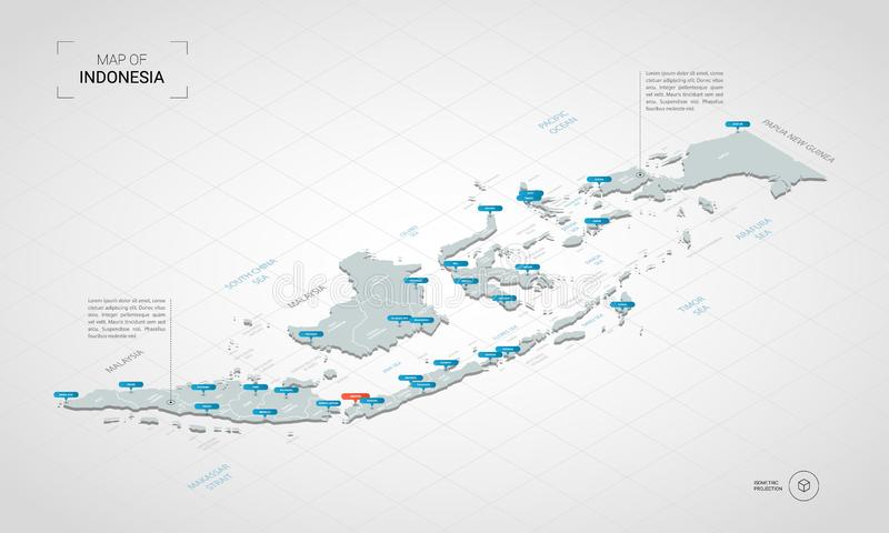 Isometric Indonesia map with city names and administrative divisions. Isometric 3D Indonesia map. Stylized vector map illustration with cities, borders, capital stock illustration