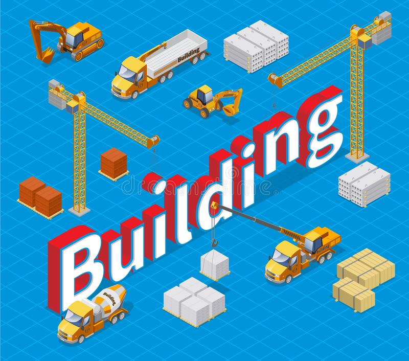 Isometric Industrial Building Concept stock illustration