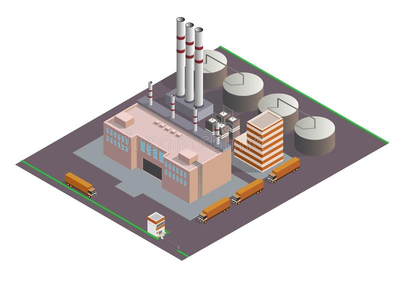 Isometric Industrial buildings composition royalty free illustration
