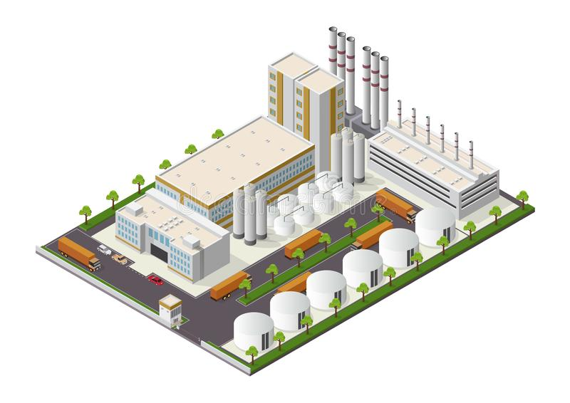 Isometric Industrial buildings composition with view of the facilities stock illustration